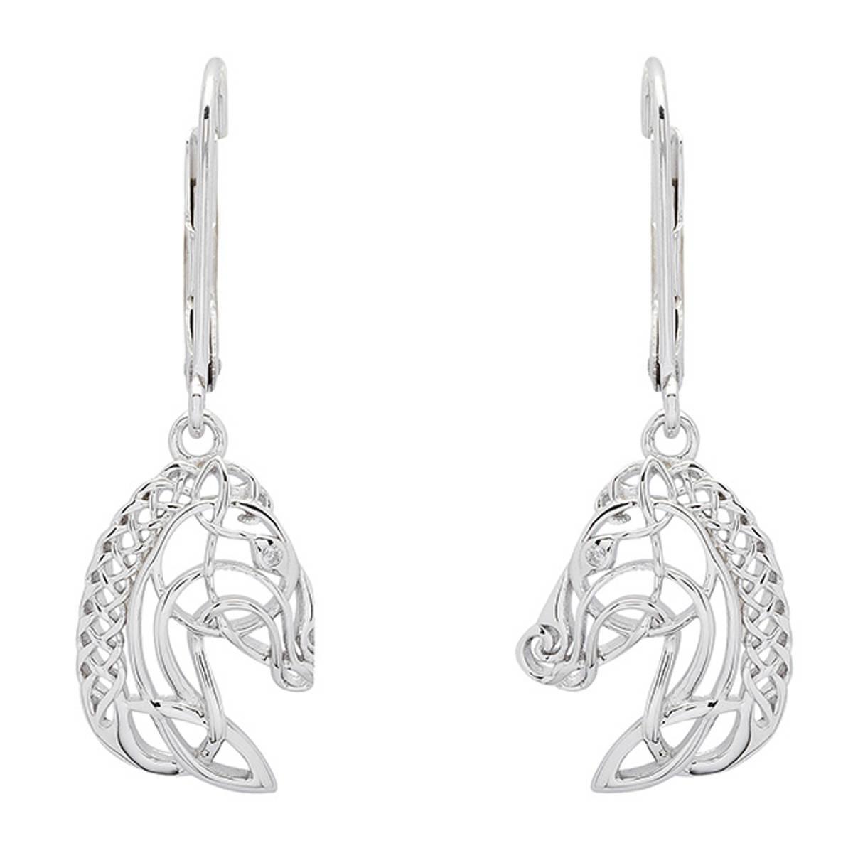 Sterling Silver Celtic Horse Head Earrings  Size: 16mm