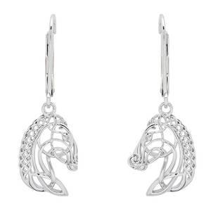 Silver Celtic Horse Head Earrings
