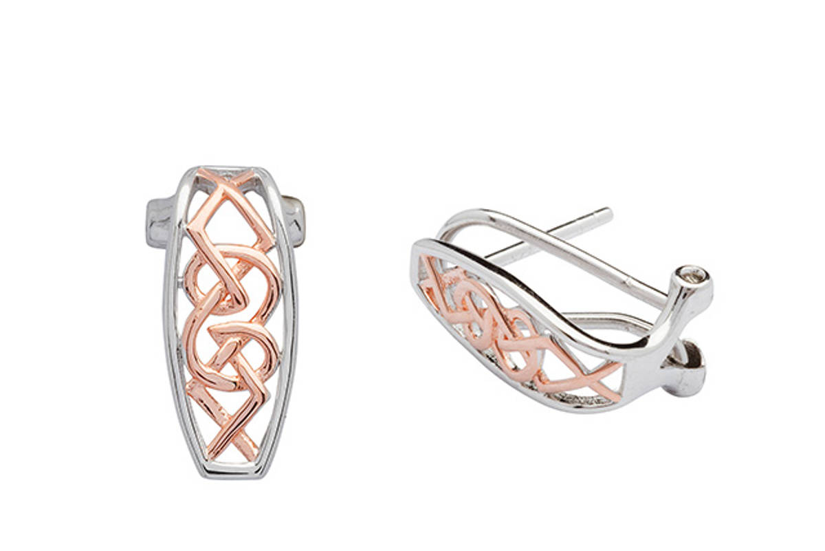 Sterling Silver and rose gold two-tone Celtic Omega Clip Earrings   Size: 14.5mm
