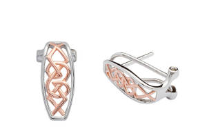 Silver and Rose Gold Celtic Earrings with Omega Clip