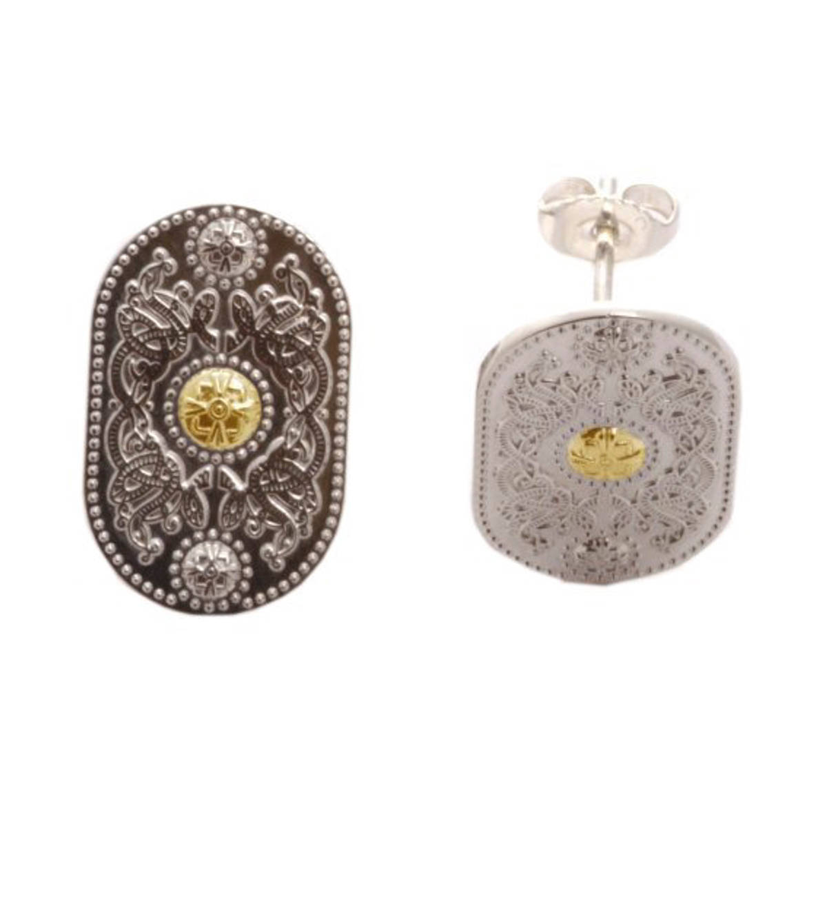 Arda Sml Silver (20mm) Stud Earrings With 14 carat Yellow Gold Boss