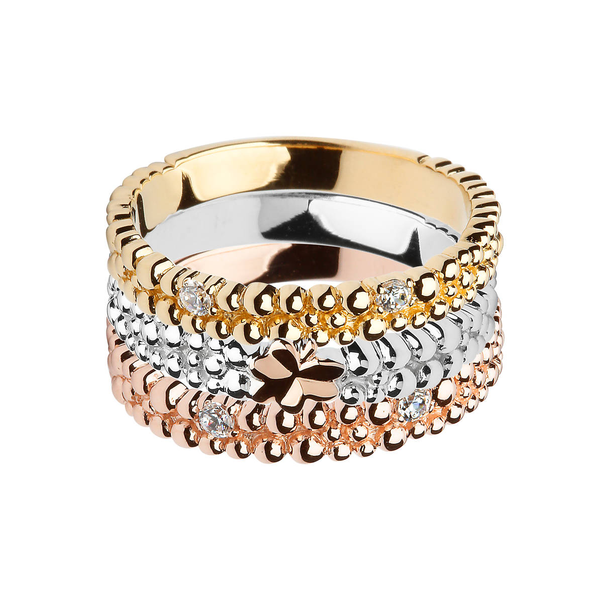 House of Lor 3 part beaded silver ring set with czs with yellow gold plated and rose gold plated sections withcentre Shamrock made from rare Irish goldpick/dapck