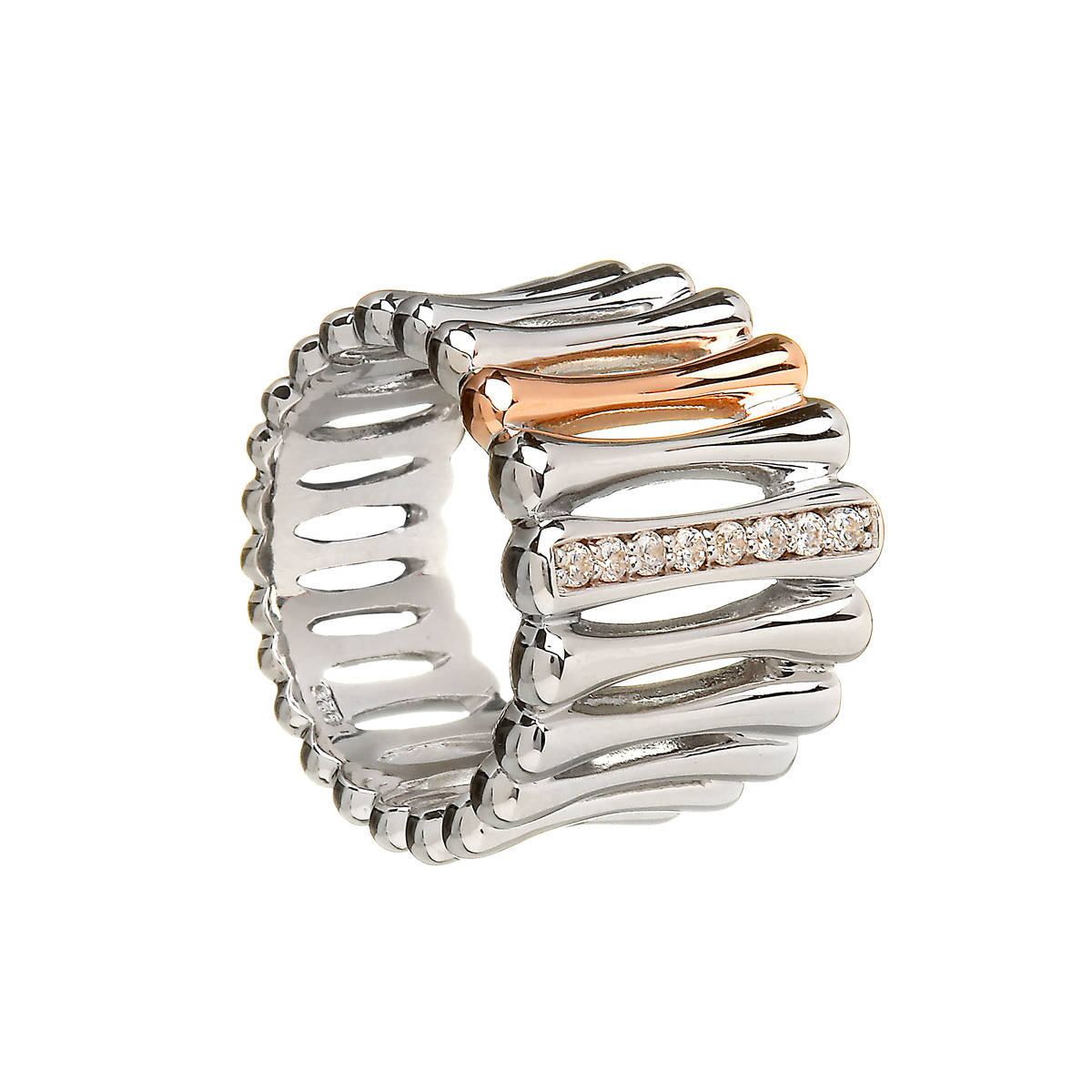House of Lor silver/rose gold CZ set ring in a multiple bar design with 1 bar made from rare Irish gold.aick/dipck