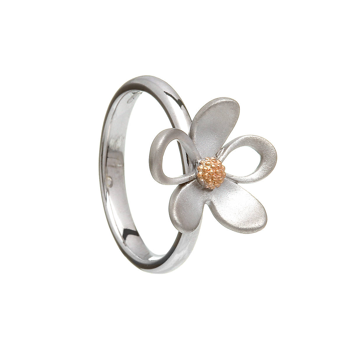 silver and rare Irish rose gold open and closed petal ring.