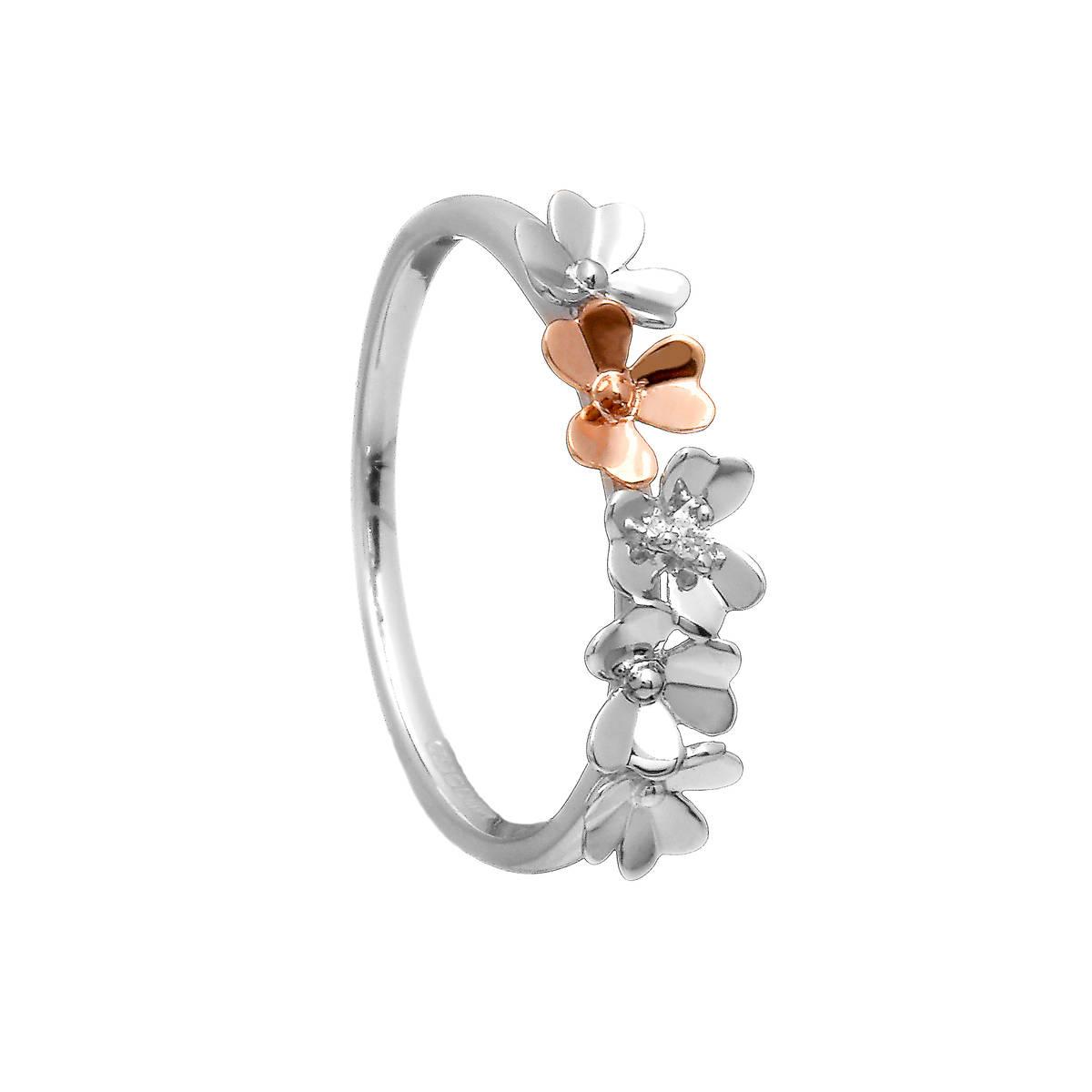 Diamond-set 9 carat white gold love shamrock band ring with one rare Irish rose gold shamrock flower.