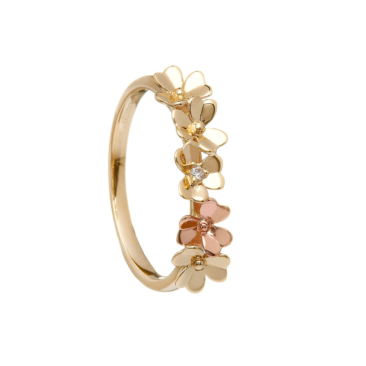 Diamond set 9 carat yellow gold shamrock ring with a single rose gold shamrock flower.