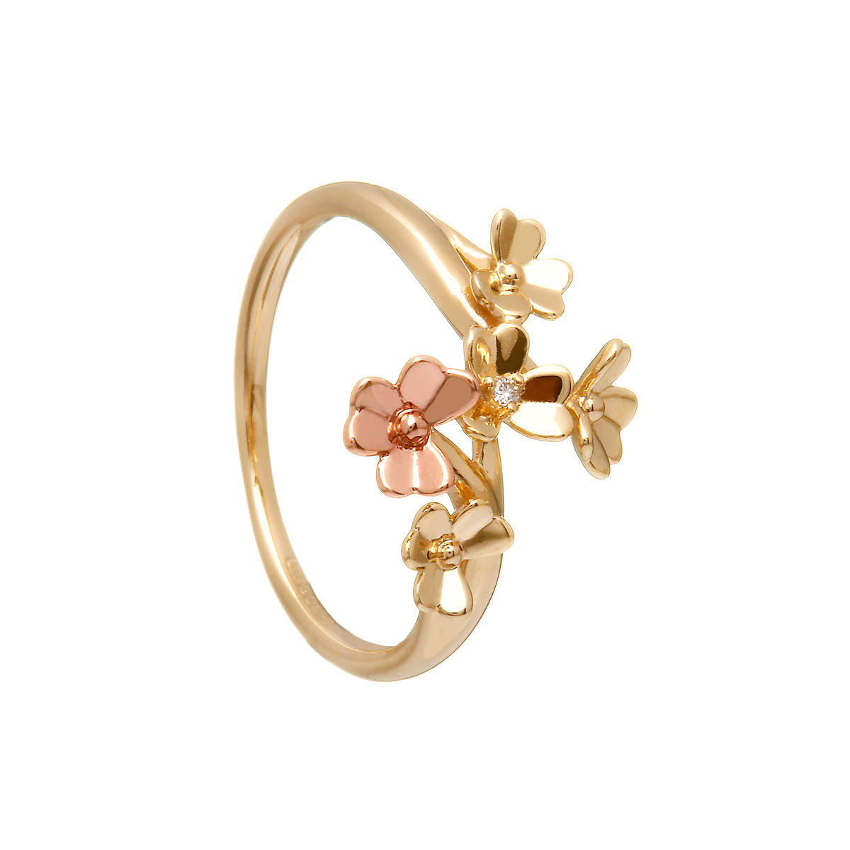 9 carat yellow gold love shamrock spray ring, diamond set, with one rare Irish rose gold flower.