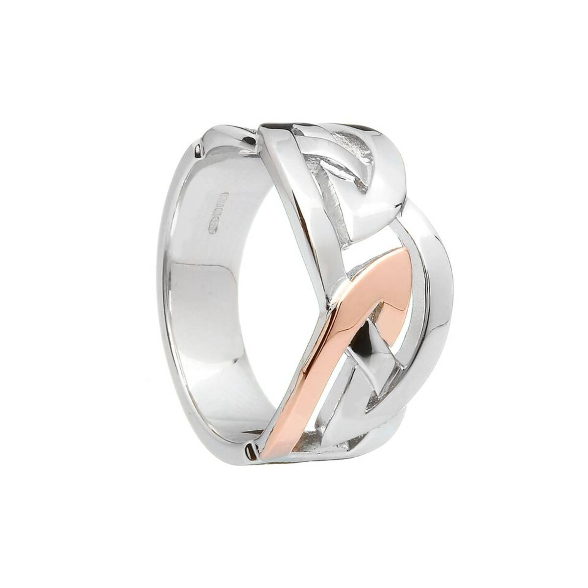 sterling silver and rare Irish rose gold man's Celtic design band ring.sizes 9 to 12 only