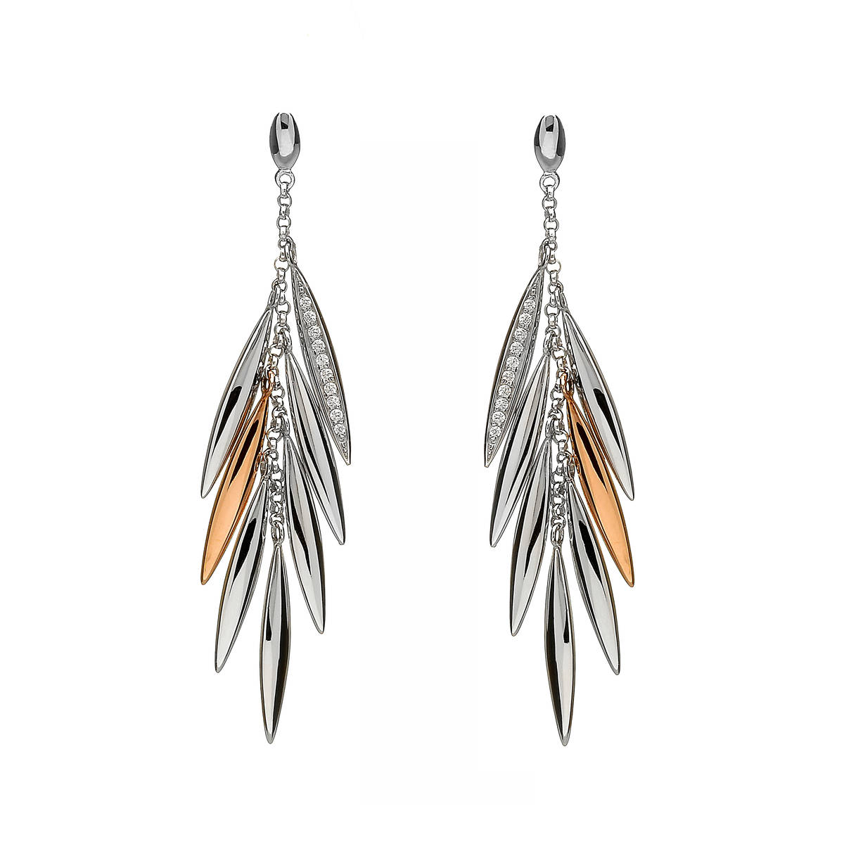 House of Lor silver/rose gold czfeather drop earrings1 feather on each made from rare Irish golddwpck/wtpck