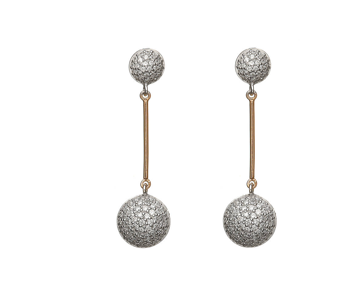 House of Lor silver/rose gold cz circle drop earrings middle bar on each made from rare Irish goldddick/wwpck