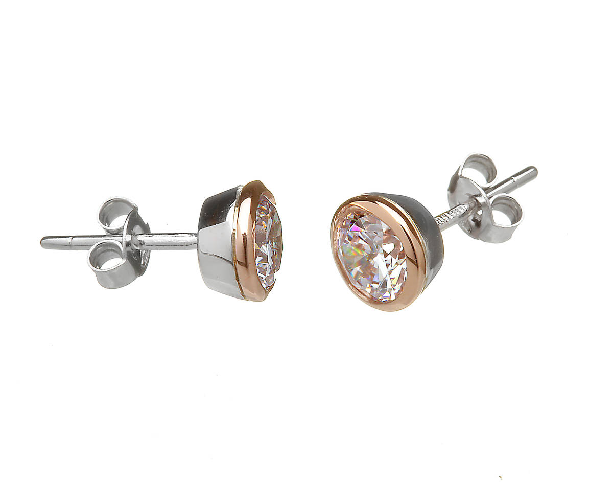 House of Lor silver/rose gold cz stud earrings made from rare Irish goldpkck/dpkck