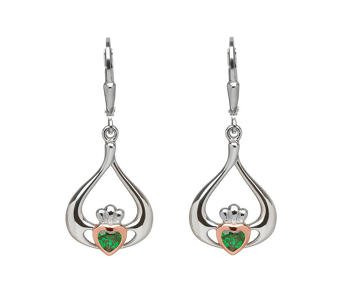 sterling silver and rare Irish rose gold Claddagh drop earrings with centre green cz gemstone.