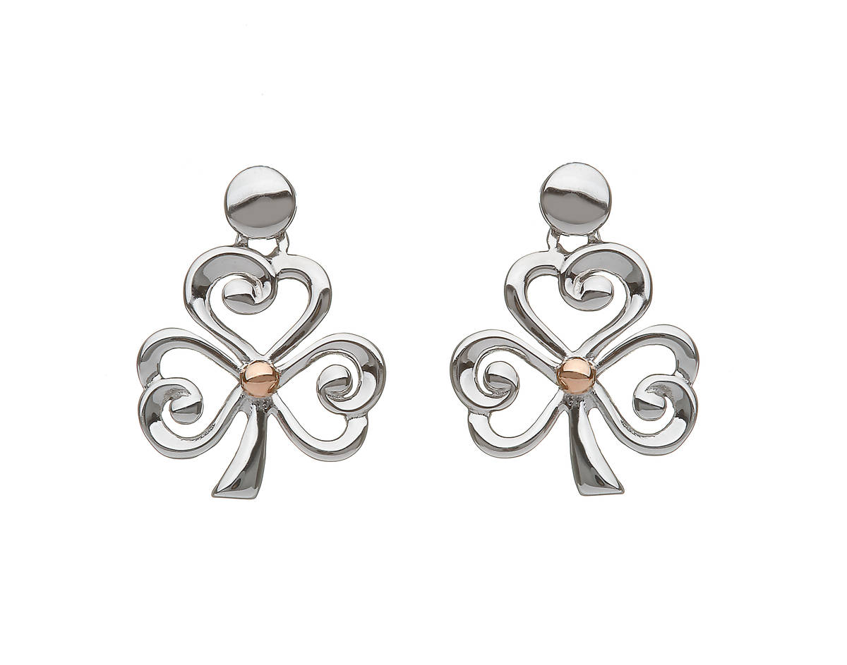 silver and rare Irish rose gold open shamrock earrings with gold centres.