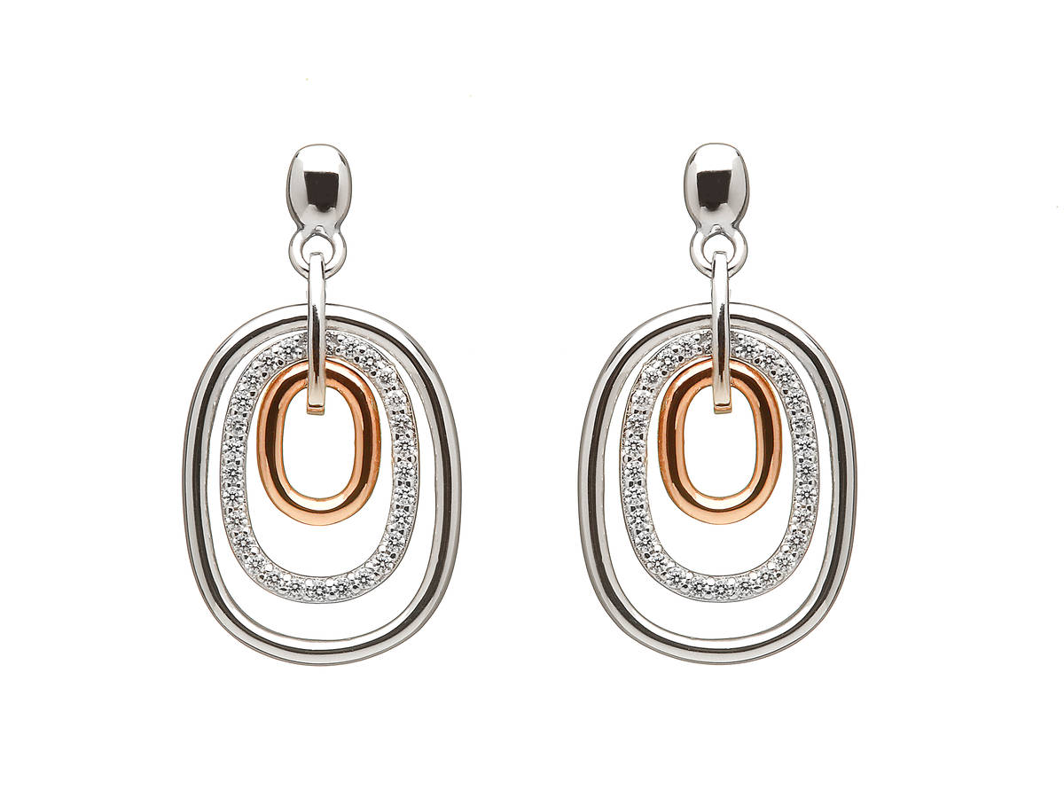 silver and rare Irish rose gold drop earrings with white topaz stones.