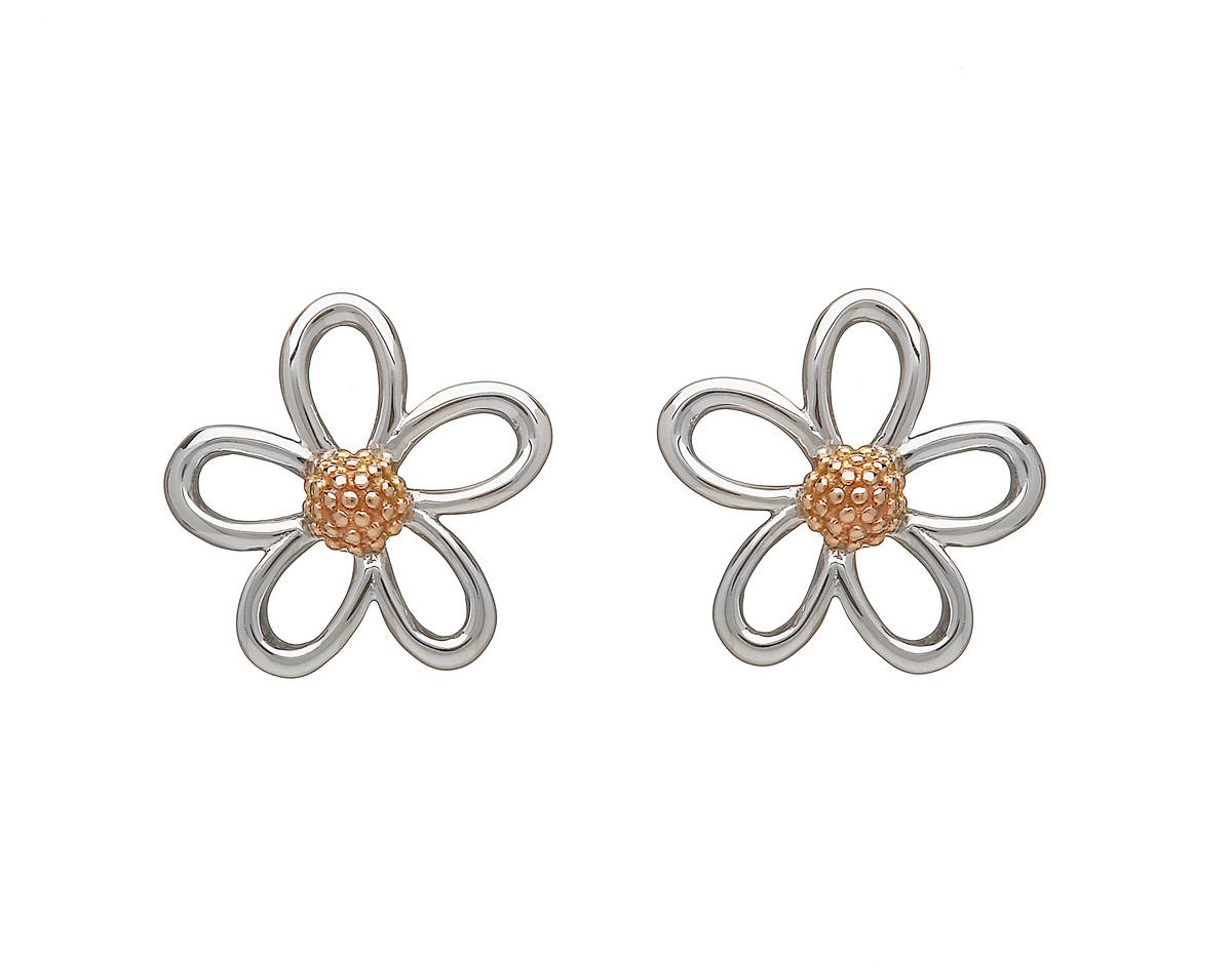 sterling silver open petal stud earrings with rare Irish rose gold centres.