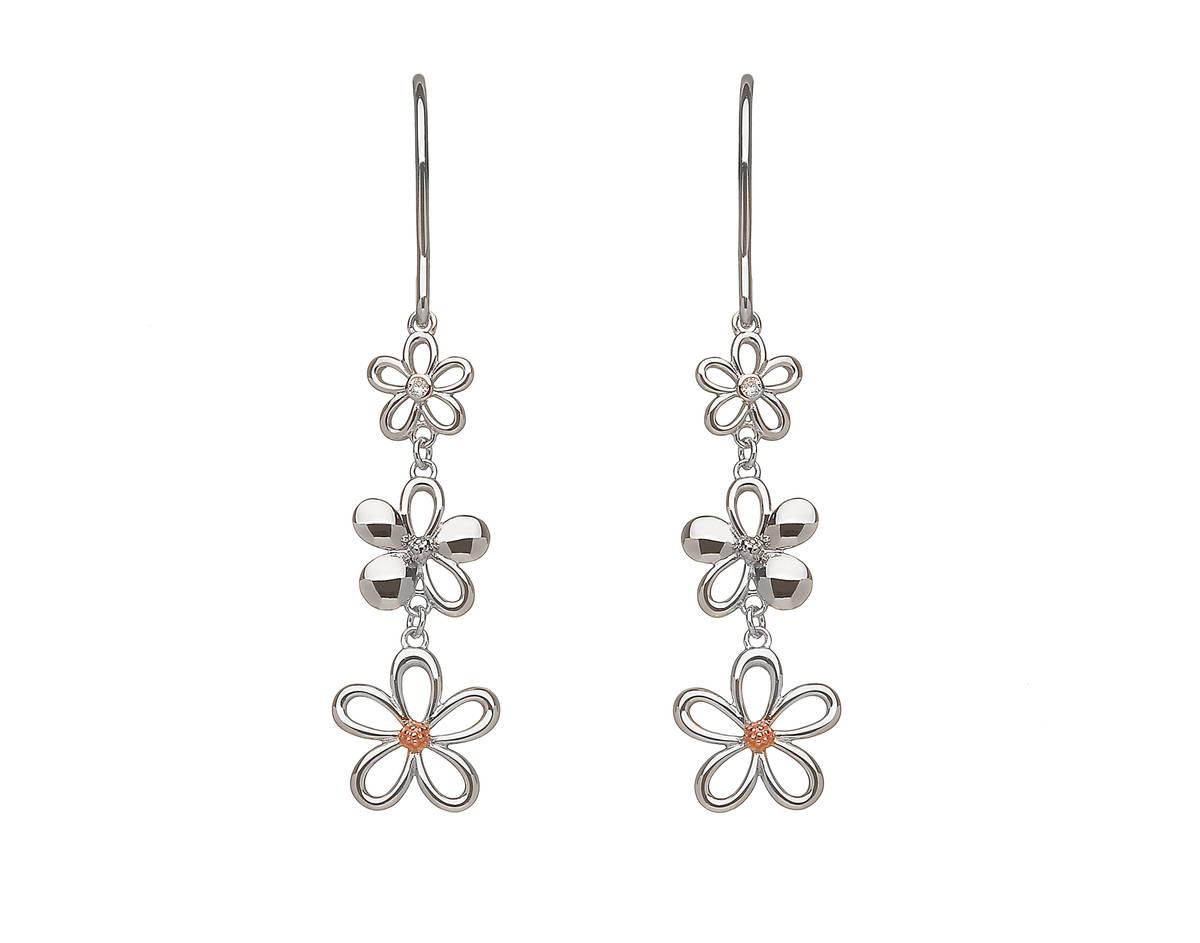 sterling silver and rare Irish rose gold diamond set3 petal drop earrings