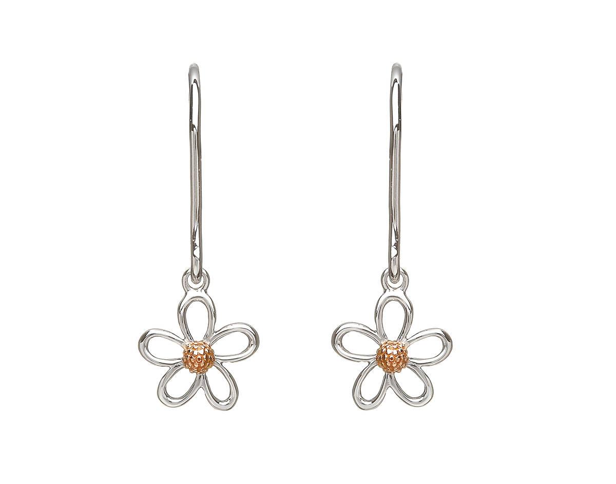 silver and rare Irish rose gold 1 petal drop earrings