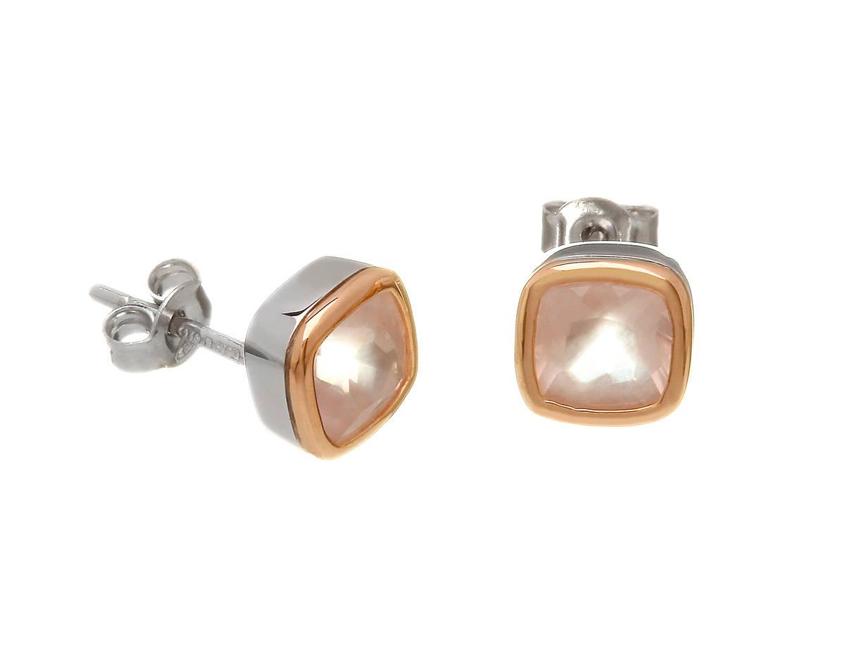 silver and rare Irish rose gold stud earrings with rose quartz gemstones.
