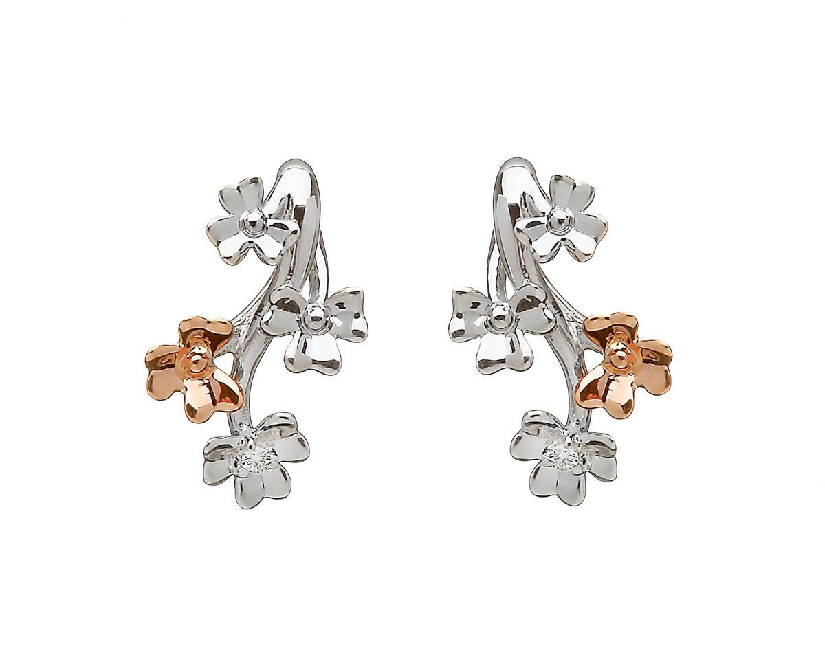 diamond set 9 carat white gold love shamrock stud spray earrings with one rare Irish rose gold flower.