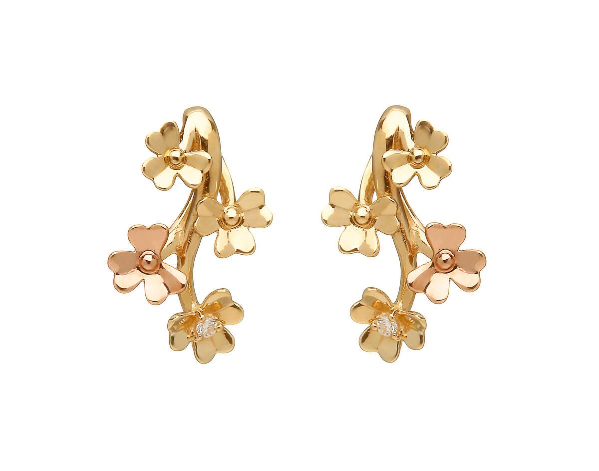 diamond set 9 carat yellow gold love shamrock stud spray earrings with one rare Irish rose gold flower.