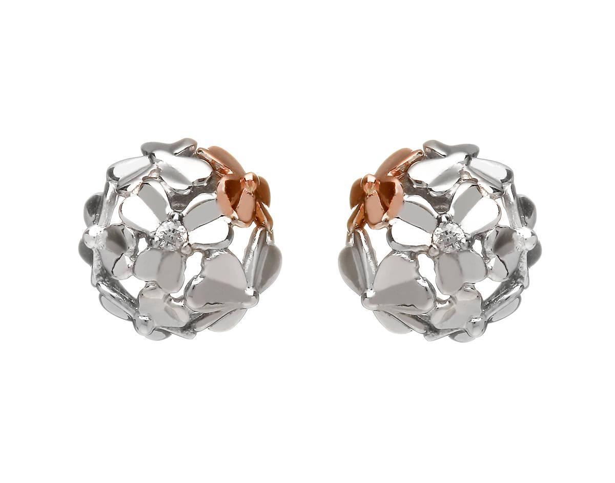diamond set 9 carat white gold love shamrock stud posy earrings with one rara Irish rose gold flower.