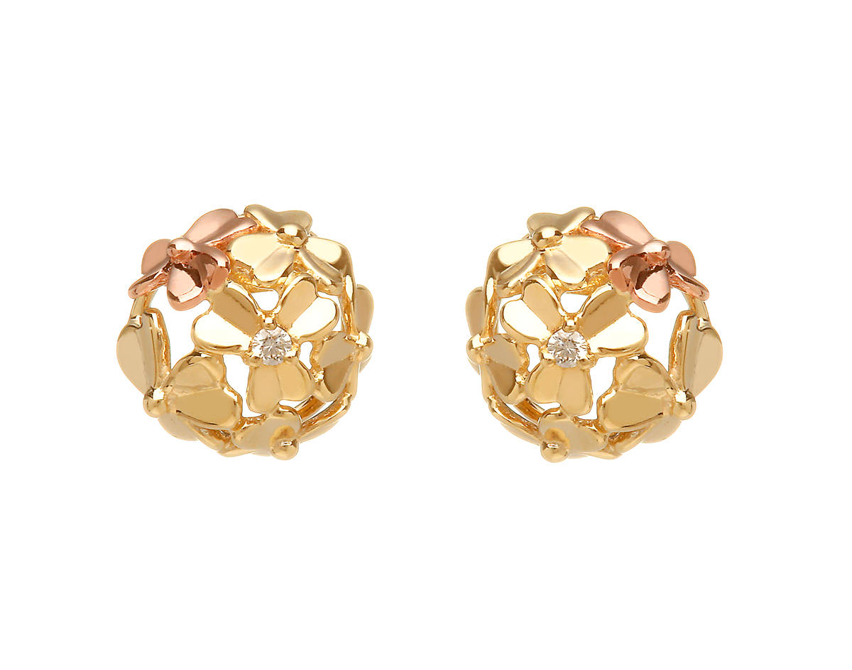 diamond set 9 carat yellow gold love shamrock stud posy earrings with one rare Irish rose gold flower.