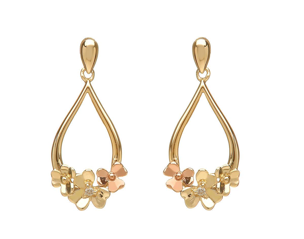 diamond set 9ct yellow gold love shamrock posy earrings with one rare Irish rose gold flower