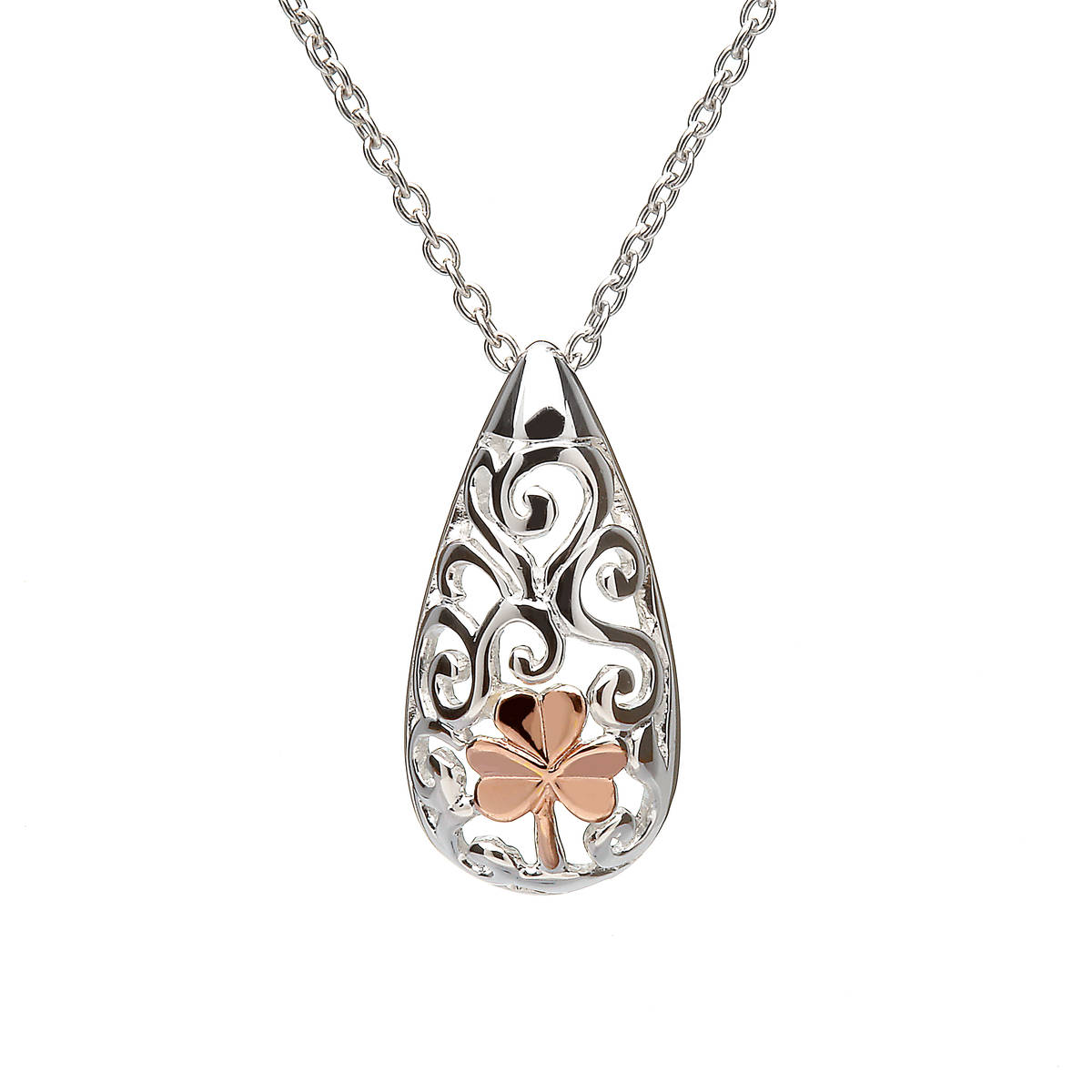 """House of Lor silver Celtic pendant with rose gold Shamrock made from rare Irish gold on 28\"""" chainSee matching earringpkck/dpkck"""