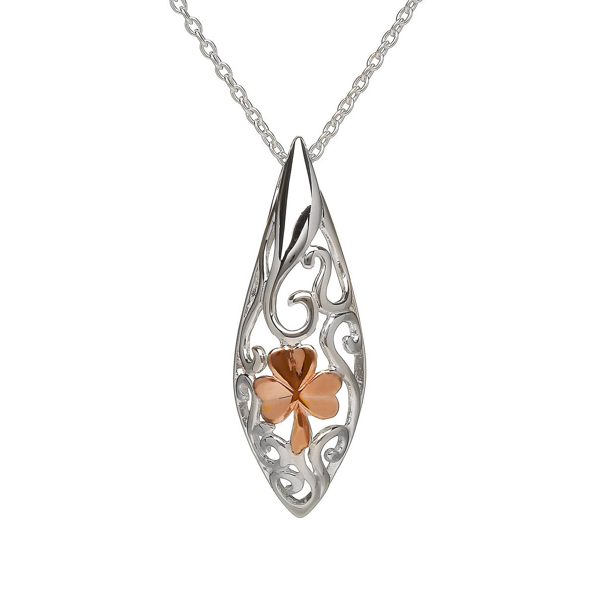 """House of Lor silver Celtic pendant with rose gold Shamrock made from rare Irish gold on 28\"""" chain.pick/dapck"""