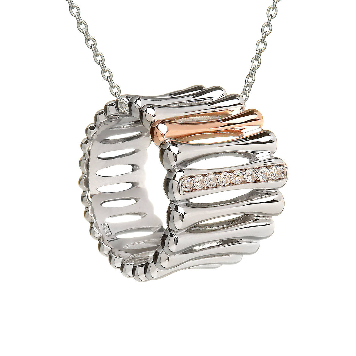 House of Lor Silver pendant.  One bar of cubic zirconia, and one bar made from Rare Irish rose gold.