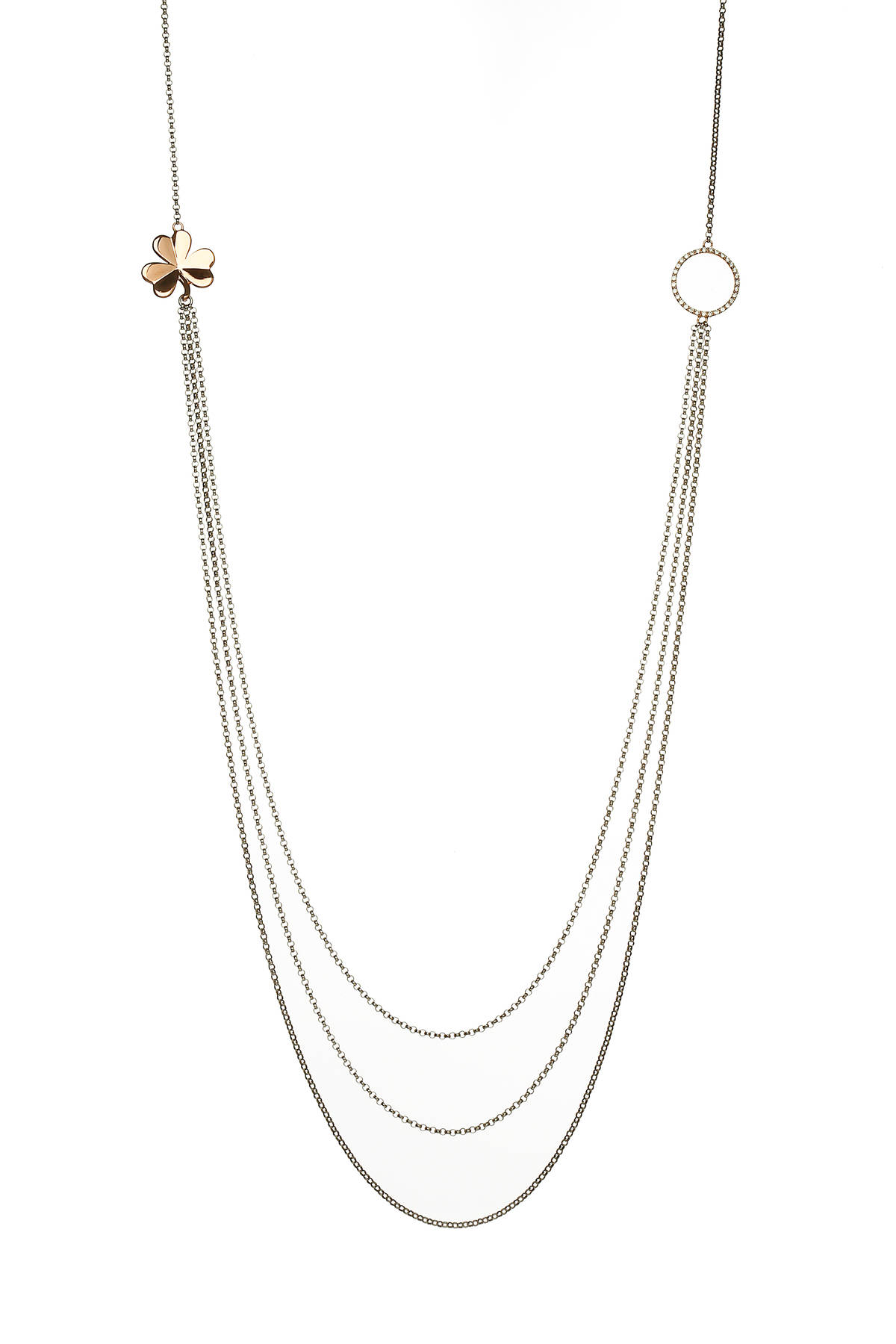 House of Lor silver 3 strand necklet with GP Shamrock rose gold circle made from rare Irish golddwcck/owpck