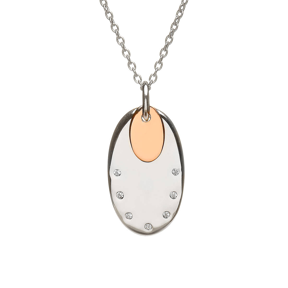 House of Lor silver oval cz disc with oval rose gold disc made from rare Irish goldaick/dipck