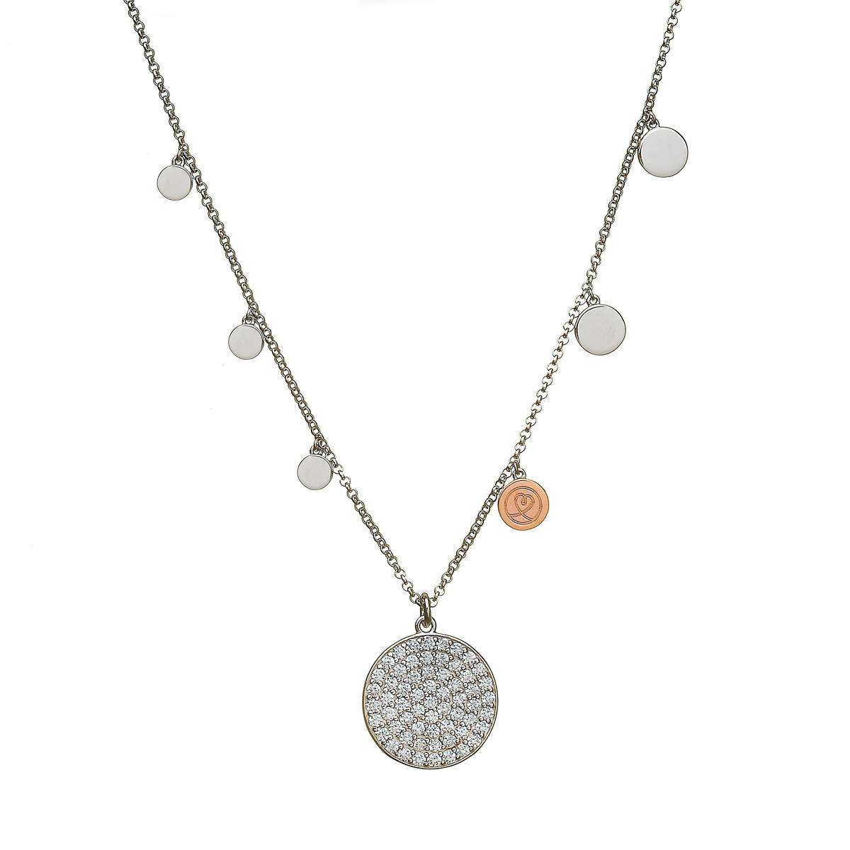 silver and rare Irish rose gold multi disc necklet with czs.