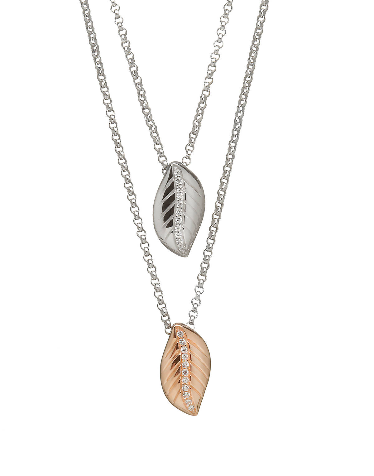 House of Lor silver/rose gold double leaf pendant bottom leaf made from rare Irish golddonck/wocck