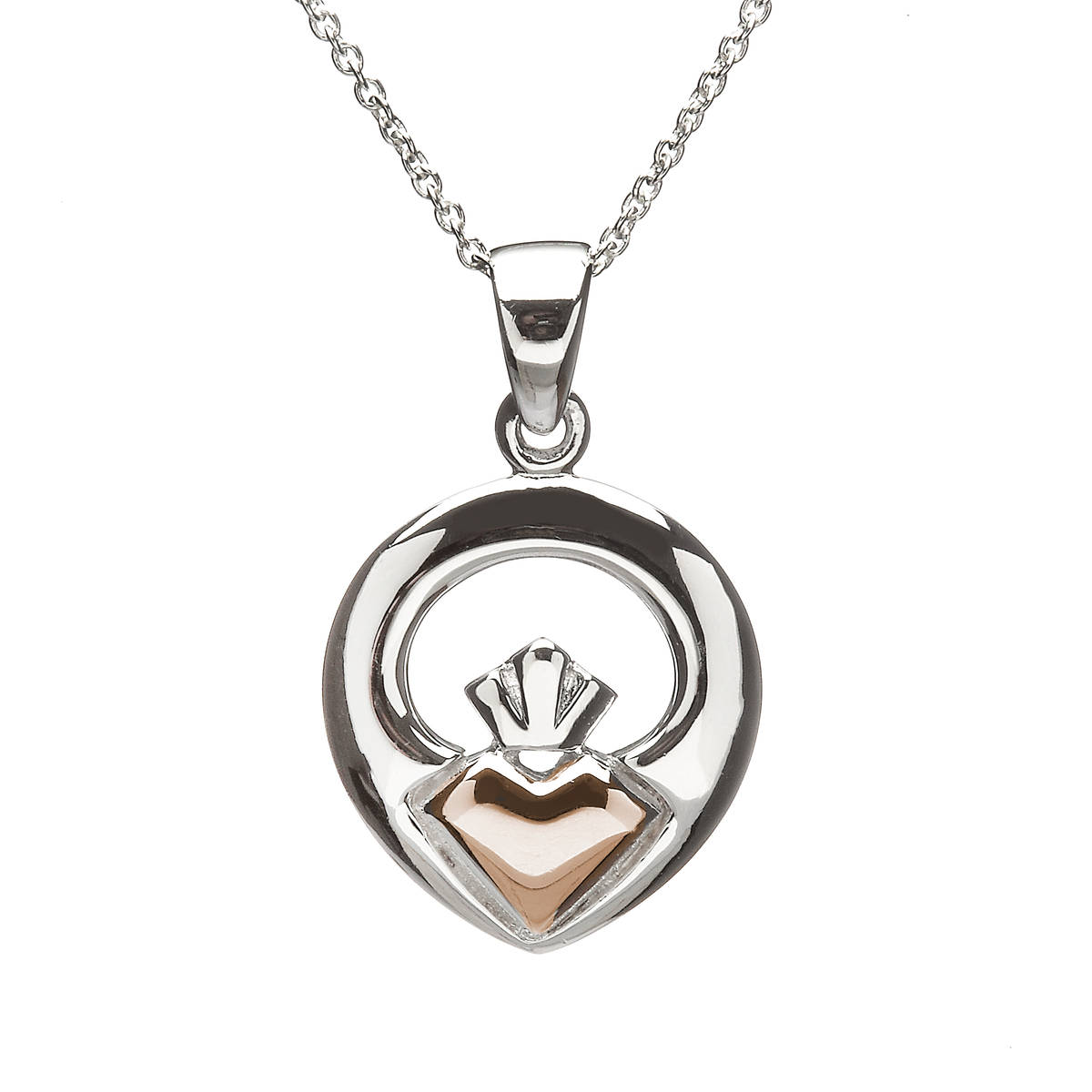 House of Lor silver/rose gold Claddagh pendant heart made from rare Irish gold.pkck/dpkck