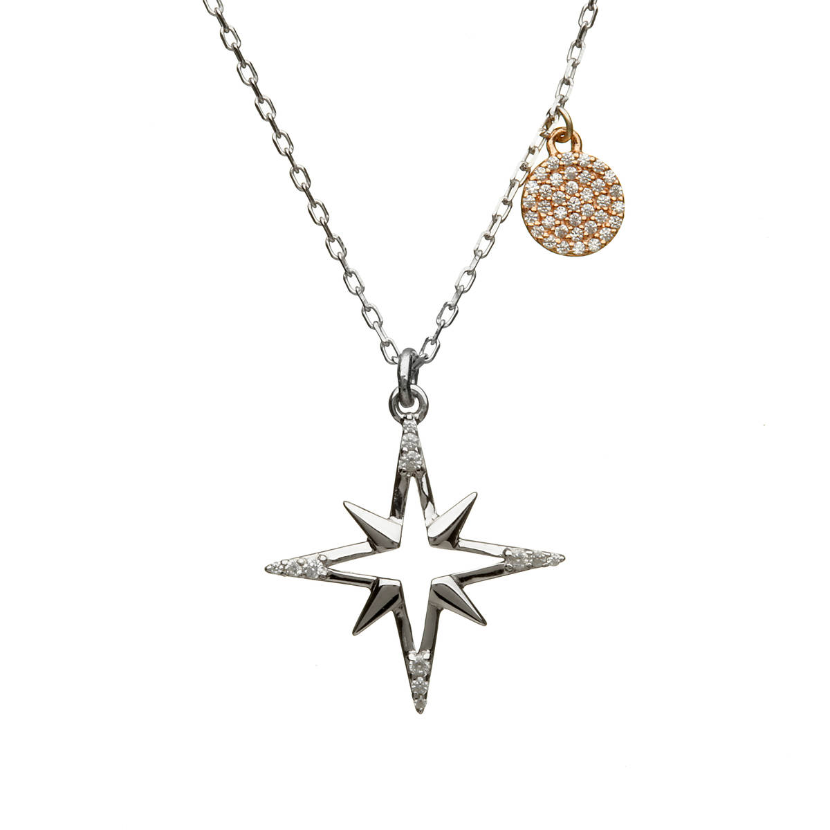 House of Lor silver/rose star cz pendant with disc made from rare Irish goldapck/drcck