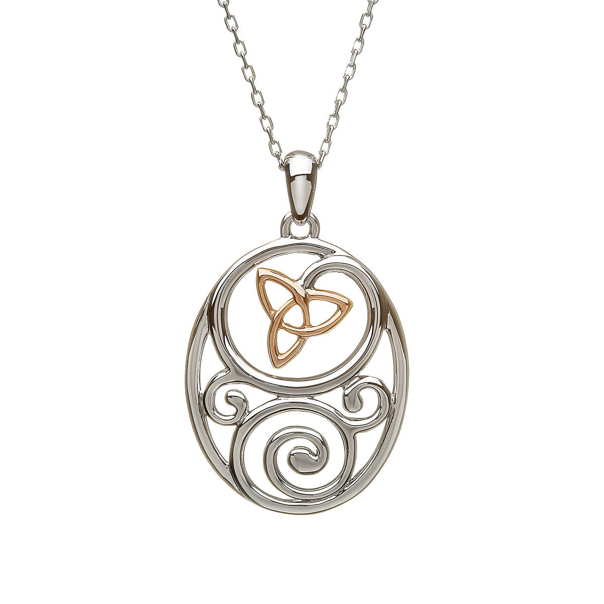 """silver and rare Irish rose gold Celtic pendant on 18\"""" chain with trinity knot made with gold."""