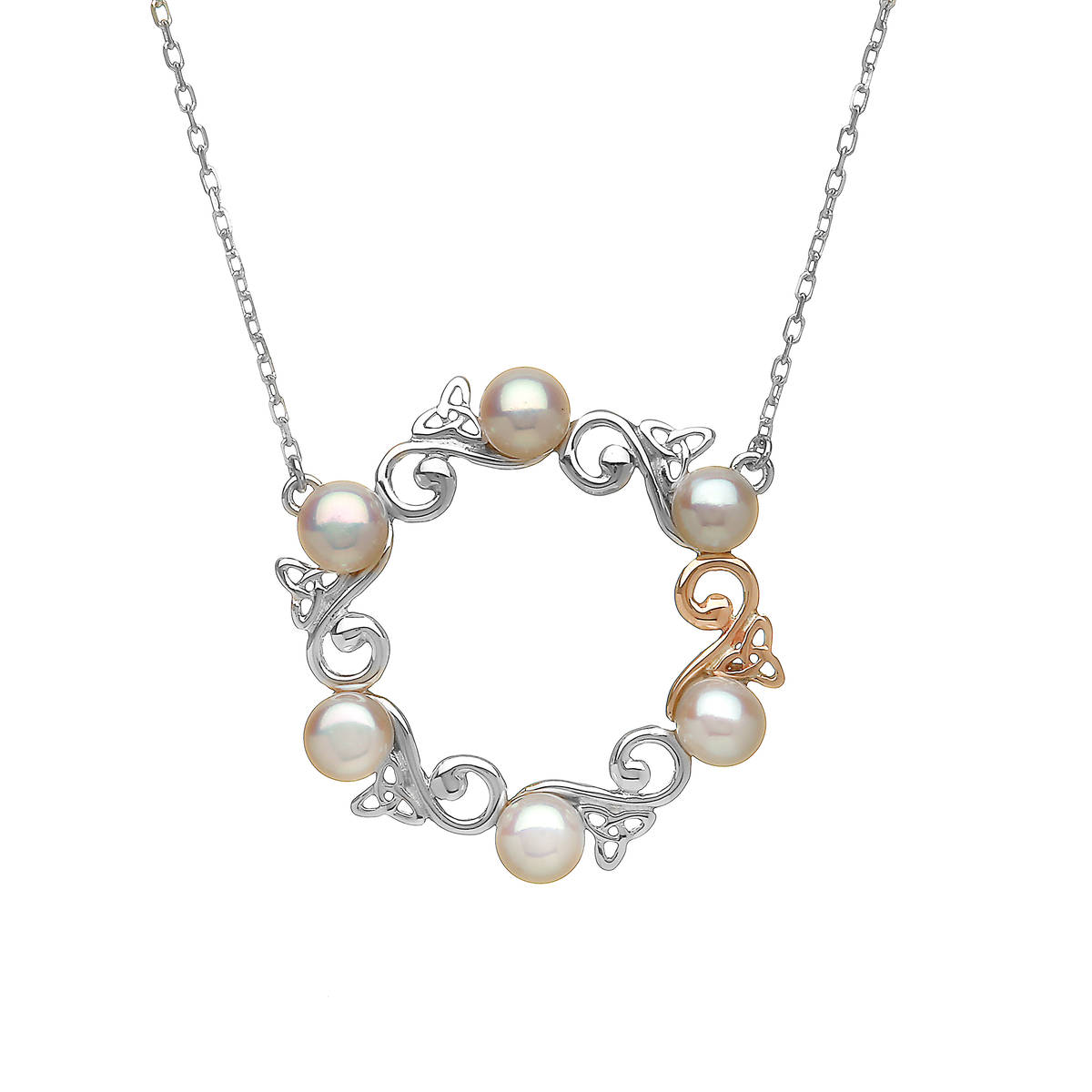 "silver and rare Irish rose gold Celtic pearl pendant on 18\"" chain."