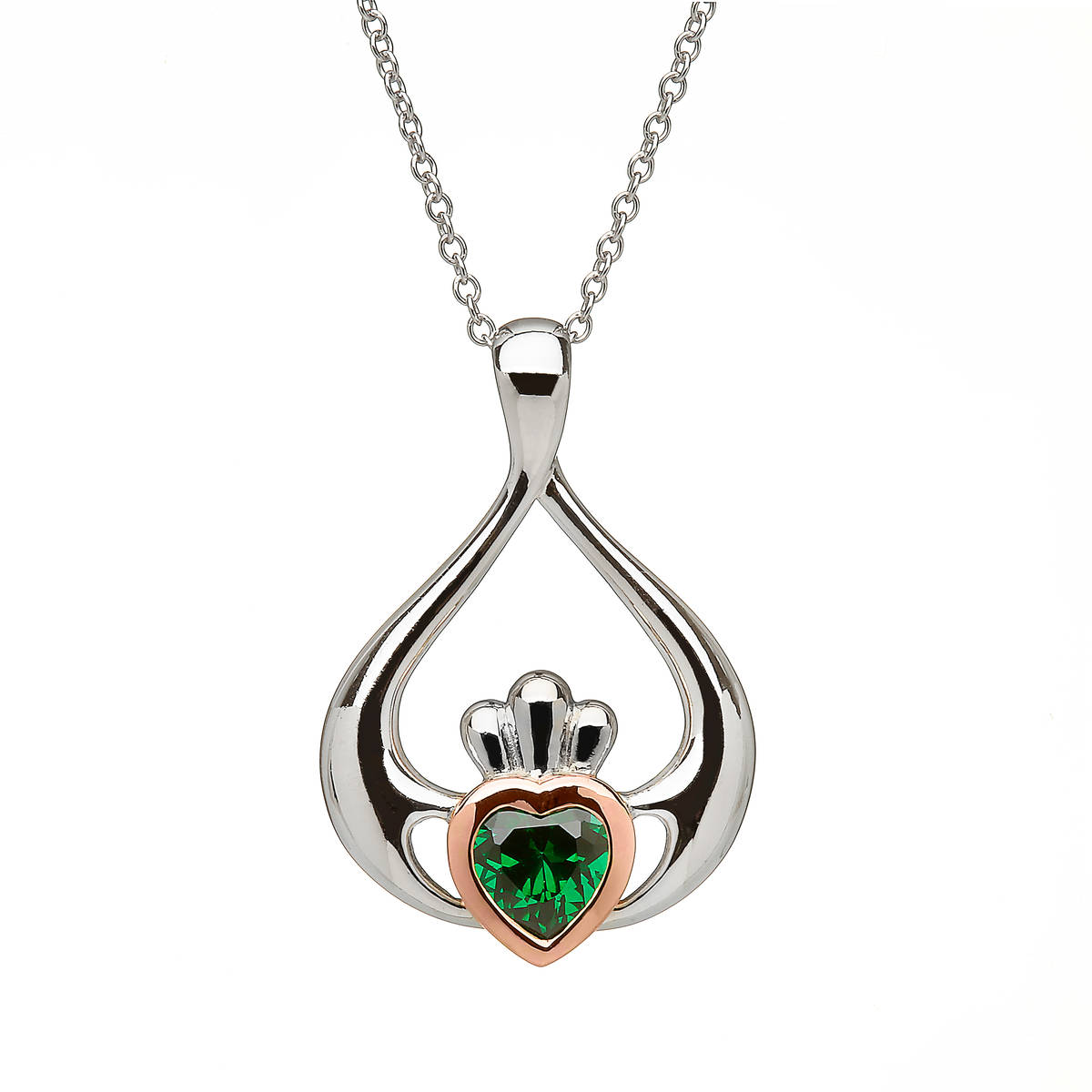 sterling silver and rare Irish rose gold Claddagh pendant with green cz stone.