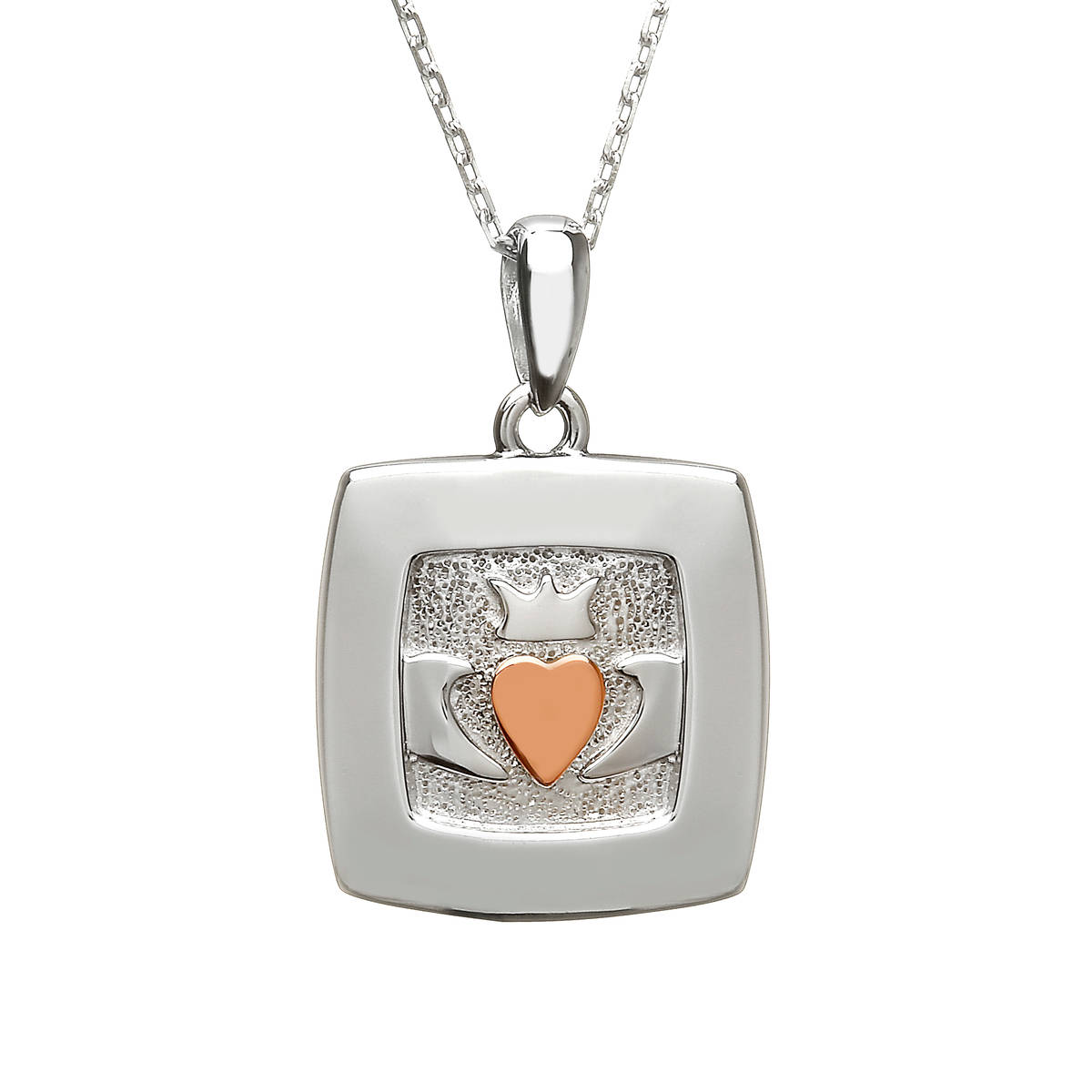 silver and rare Irish rose gold square Claddagh pendant with heart made from gold.