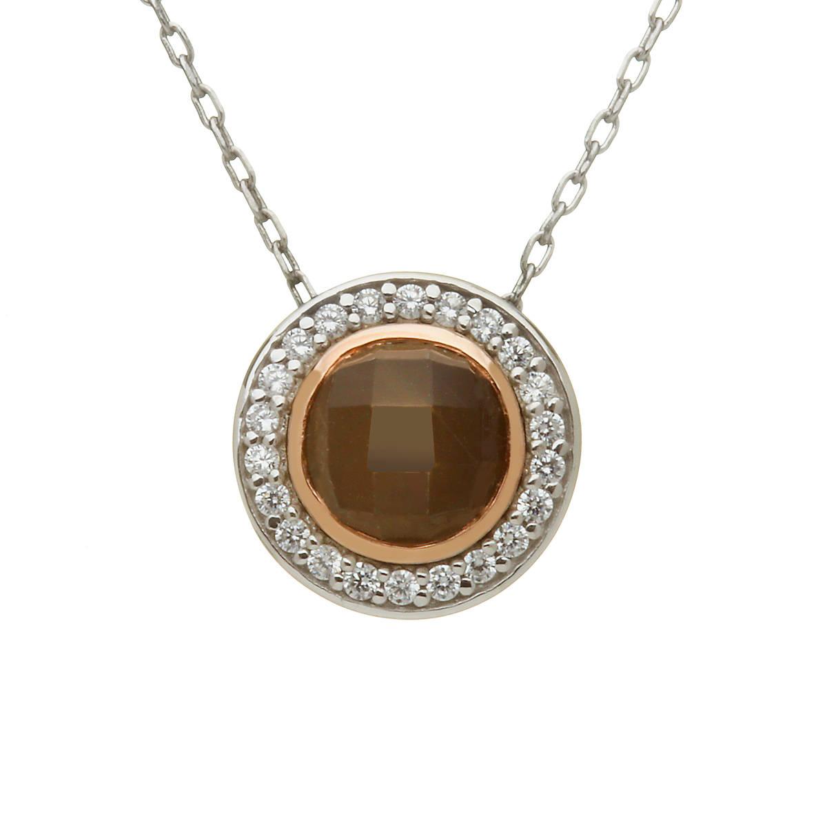 silver and rare Irish rose gold smokey quartz and cz pendant.