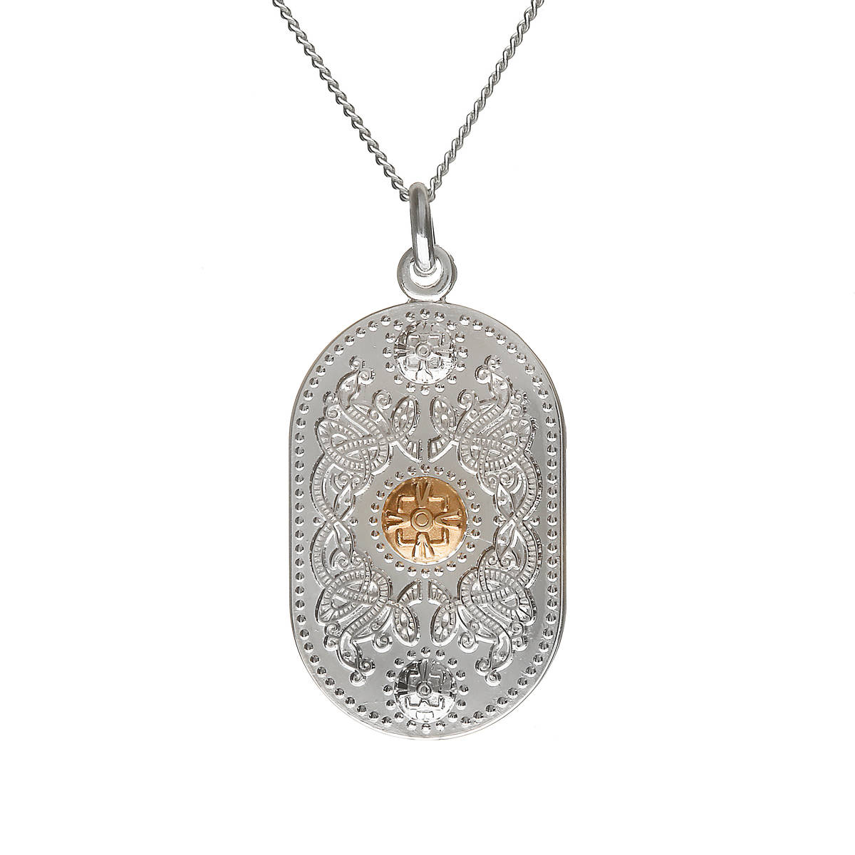 """sterling silver and rare Irish yellow gold Arda 25mm pendant on 18\"""" chain.npdop"""