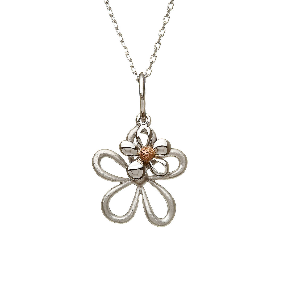 """silver and rare Irish rose gold small double petal pendant on 18\"""" chain."""