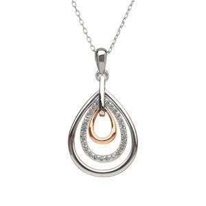 silver and rare Irish gold white topaz pendant.