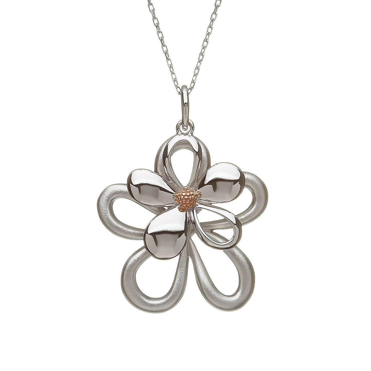"""silver and rare Irish rose gold double petal pendant on 18\"""" chain"""