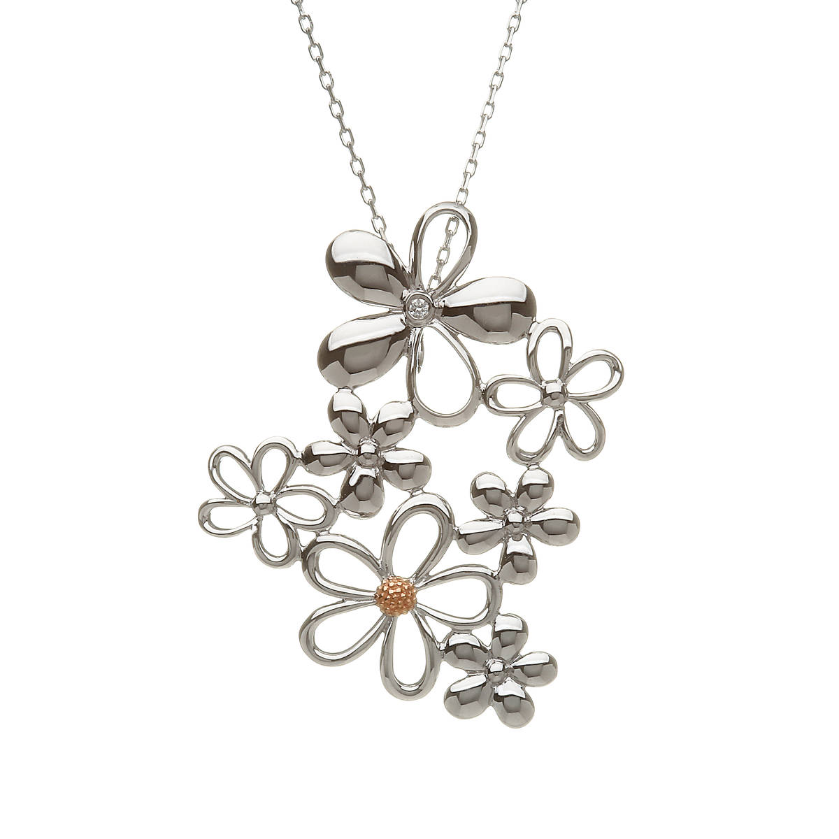 Diamond set sterling silver and rose goldcluster petal pendant with rare Irish gold centre