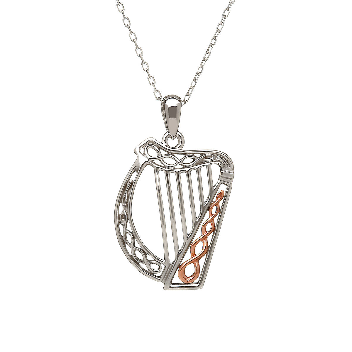 sterling silver and rare Irish rose gold Celtic Harp pendant with Celtic design in gold.