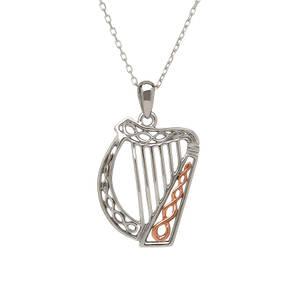 silver and rare Irish rose gold Celtic Harp pendant