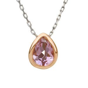 silver and rare Irish rose gold teardrop amethyst pendant