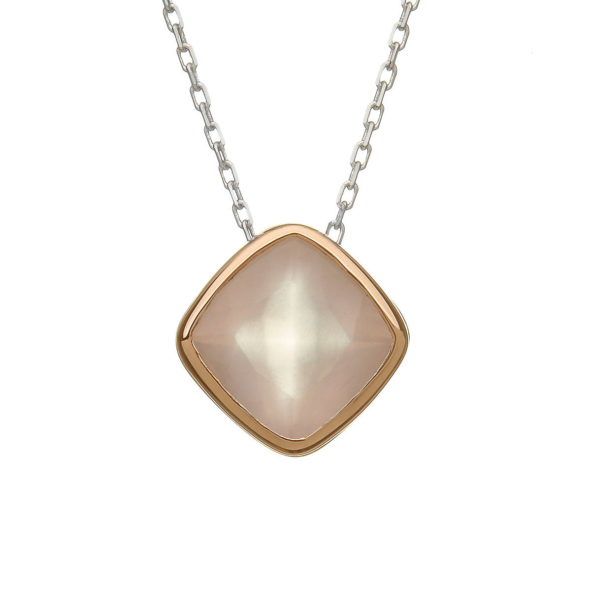 silver and rare Irish rose gold rose quartz pendant.